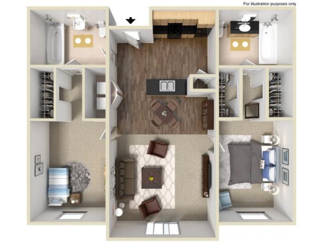 2 Bed 2 Bath ADA 1015 Square Feet